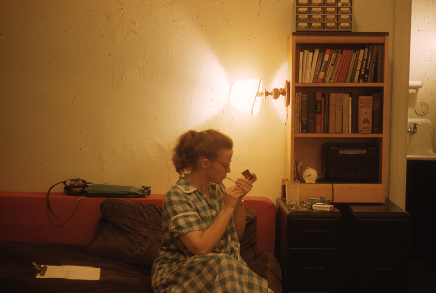 Connie Converse in her apartment